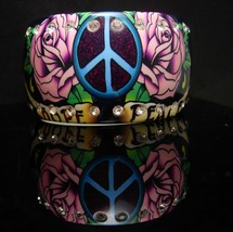 Peace Bracelet 50 inset rhinestones Vintage Bangle Hippie Hope WIDE luci... - $125.00