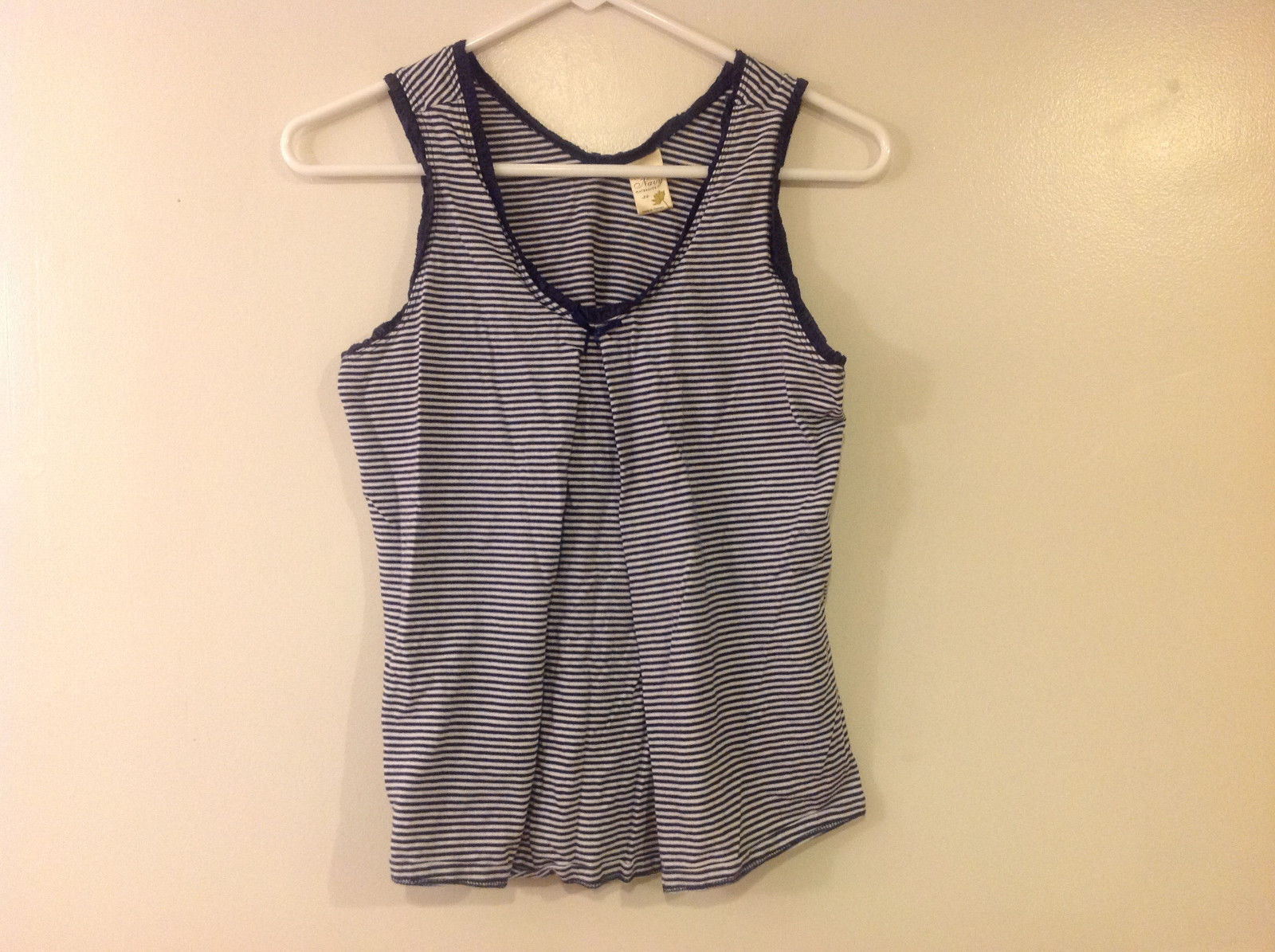 Old Navy Maternity Women Size XS Tank Top Nautical Navy & White Stripes w/ Trim