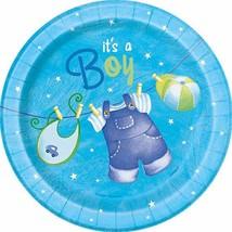 "Blue Clothesline Boy 8 Ct 7"" Dessert Cake Plates Baby Shower - $3.13"