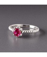 Beautiful Sterling Silver Spiral Band July Ruby Birthstone Ring by Lenox ! - $119.95