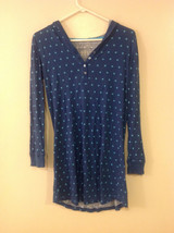 Xhilaration Women's Size L Hooded Pajama Pyjama Top Long Sleeves Blue Star Print