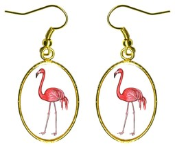 "Pink Flamingo 1"" Gold Hypoallergenic Steel Earrings - $16.95"