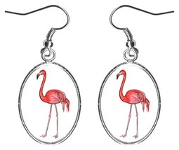 "Pink Flamingo 1"" Silver Hypoallergenic Steel Earrings - $16.95"