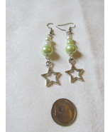 Handcrafted Pierced Earrings Stars and Green And White Beads - $6.00