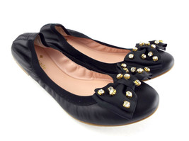 New KATE SPADE Size 8 WYLIE Black Crystal Bow Ballet Flats Shoes - $149.00