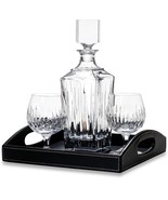 Exquisite Brilliant Cut Soho Crystal Decanter & Brandy Set by Reed & Bar... - $349.00
