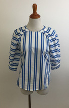 H&M Striped Pleated Sleeve Top sz 2 - $16.82