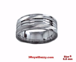 Shiny Elegant Design Cut 18k W Gold over Sterling Silver Ring Band 6.8mm... - $21.36