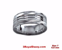 Shiny Elegant Design Cut 18k W Gold over Sterling Silver Ring Band 6.8mm... - $23.33