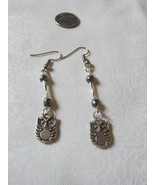 Handcrafted Pierced Earrings With Owls Silver And Gray Beads - $6.00