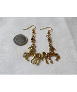 Handcrafted Pierced Earrings With Horses And Purple And Gold Beads - $6.00