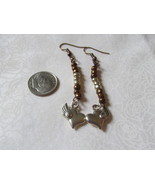Handcrafted Pierced Earrings With Flying Hearts and Brown Beads  - $6.00