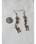 Handcrafted Pierced Earrings With Deer and Purple Beads - $6.00