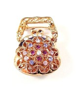 Purse Handbag Pin Brooch Crystal Multicolor Gol... - $16.99