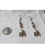 Handcrafted Pierced Earrings With Bulldogs and Gray And Pearl Beads - $6.00