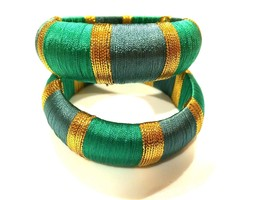 Set of 2 Bangles Golden Yellow Green Blue Striped Jewelry Ethnic Bracele... - $34.65