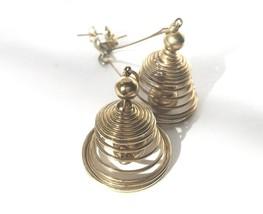Vintage Drop Earrings Golden Spirals Dangle Modernist Jewelry Costume Bi... - $29.70