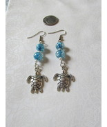Handcrafted Pierced Earrings With Turtle With Blue Iridescent  Beads - $6.00