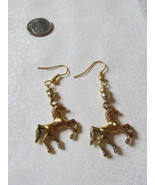 Handcrafted Pierced Earrings With Horses And Gold Beads - $6.00