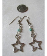 Handcrafted Pierced Earrings With Star Aqua And White Bead - $6.00