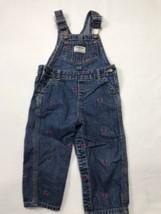 OshKosh B'gosh Girls size 18 M overalls Denim Jean Vestbak Pink Hearts - $23.18