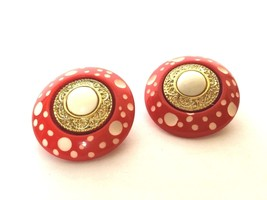 Retro Clip on Earrings Red White Gold Vintage Jewelry Bijoux Costume Pol... - $24.75