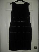 Kasper New Womens Black Faux Leather Stripes Sheath Dress    12P  - $49.99