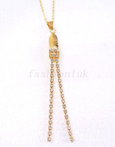 Women Long Charm Drop Crystal Necklace 18K Yellow Gold Plated  UK - $14.44