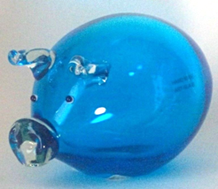 Murano Art Blue Glass Pig Sculpture Good Luck Home Gift Decor - $29.99