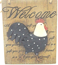 Welcome Cuckoo Rustic Wooden Rooster Wall Plaque 3D Home Decor - $25.00
