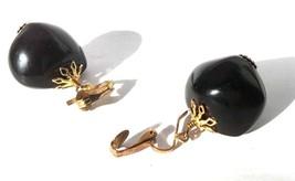 Black Golden Dangle Clip Earrings Bold Old Jewelry Costume Bijoux Retro ... - $24.75