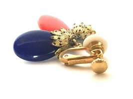 Napier Vintage Red White Blue Screw-back Clip Earrings Drop Old Plastic ... - $26.77