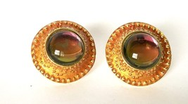 Gold Iridescent Green Pink Vintage Clip on Earrings Jewelry Costume Bold... - $24.75