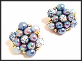 Vintage Blue Cluster Clip on Earrings Plastic Pearl Beads made In Japan ... - $34.65