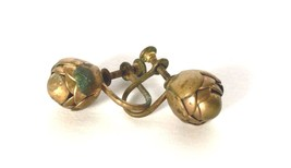 Victorian Golden Brass Rose Flower Vintage screw back Old Earrings Used ... - $15.83