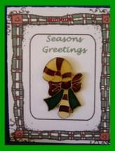 Christmas PIN #0206 Candy Cane Red, Green & White Enamel & Goldtone w/Bo... - $8.86