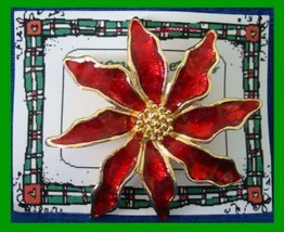 Christmas PIN #0197 Red Enamal & Goldtone Poinsettia wGoldtone Center HO... - $19.75
