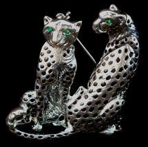 Leopard Cat Pin Brooch Twin Duo Green Crystal Eyes Silver Tone Metal - $16.99