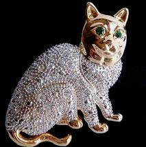 Cat Pin Brooch Large Clear Austrian Crystal Animal Theme Gold Tone Metal - $16.99