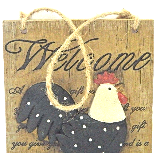 Welcome Cuckoo Rustic Wooden Rooster Wall Plaque 3D Home Decor