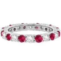 2.50CT Ruby & Diamond Eternity Ring 14K White Gold - £1,015.36 GBP+