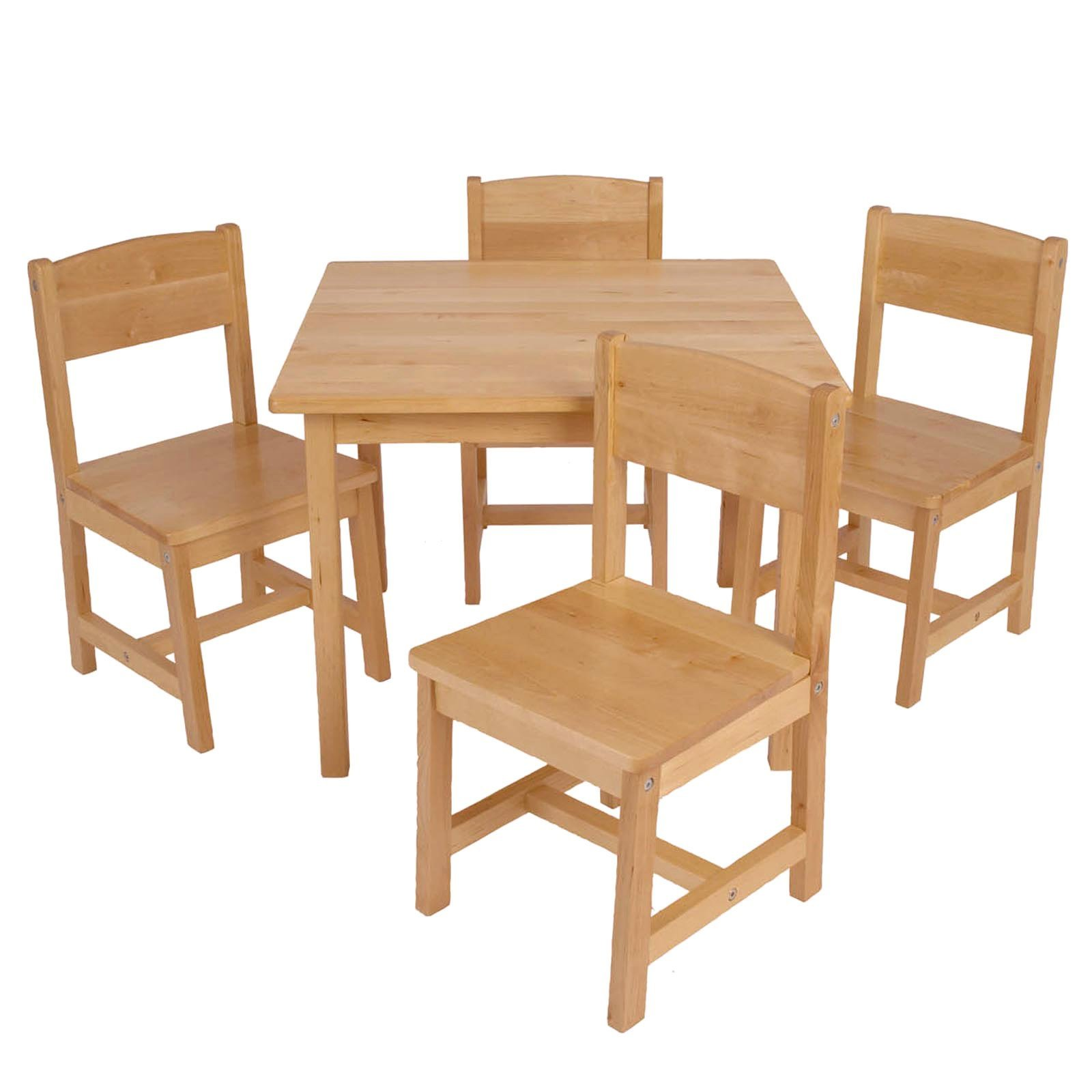 Kids farmhouse table children 5 piece sturdy wooden wood for Wooden kids table