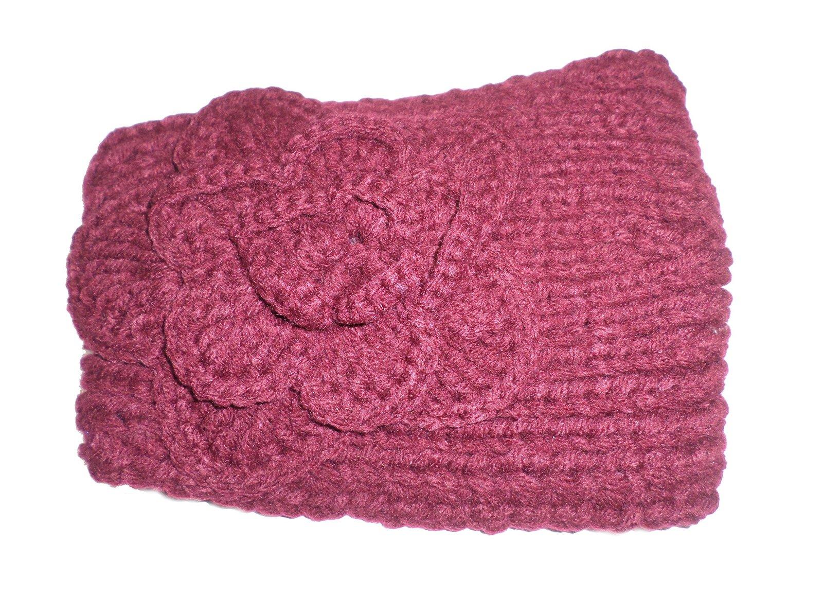 Knitted Crochet Flower Adjustable Button Stretch Headband ...