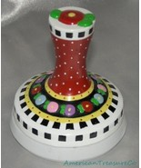 Rare Mary Engelbreit Flower Floral Checkerboard Ceramic Cookie Stamp Mol... - $26.94