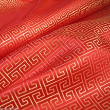 RED GOLD  WIND SWIRL BROCADE FAUX SILK SHANTUNG FABRIC 4 DRESS BLOUSE OR... - $6.50
