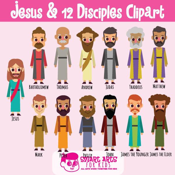 Jesus and 12 Disciples Digital Clipart, cute, jesus ...