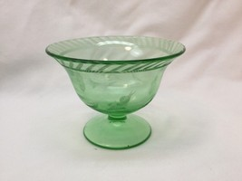 1930's Green Uranium Depression Glass Footed Bowl Candy Dish Compote Etched - $19.01