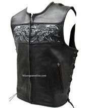 MEN'S MOTORCYCLE MOTORBIKE REAL LEATHER VEST W/ REFLECTIVE SKULLS BLACK NEW - $83.79+