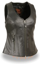 WOMEN'S MOTORCYCLE RIDERS BLACK BUTTER SOFT LEATHER VEST PLAIN NEW BLACK - $102.49+