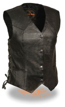 WOMEN'S MOTORCYCLE RIDER LONG LEATHER 4 SNAPS SIDE LACES VEST BLACK NEW - $51.07+